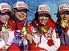 Женская сборная России по биатлону завоевала золотые медали в эстафетной гонке